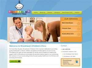 Brookhaven Children's Clinic (Website designed Oct. 2012)
